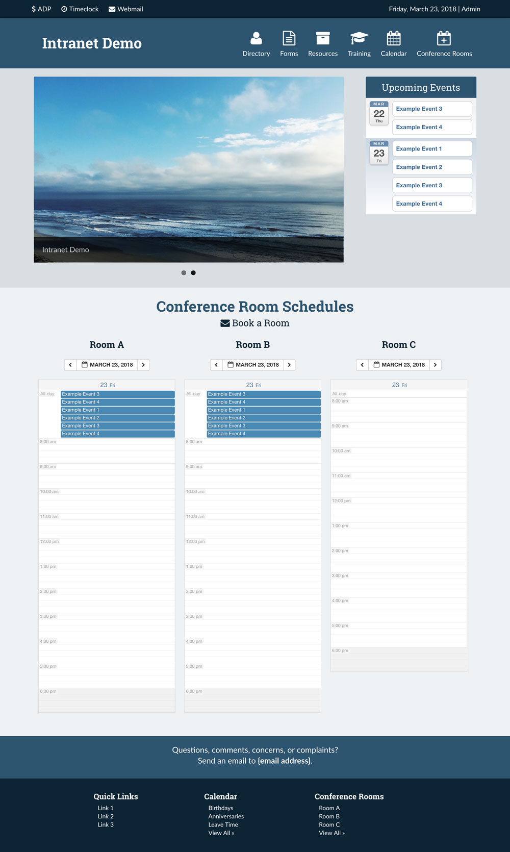 Screenshot of intranet demo